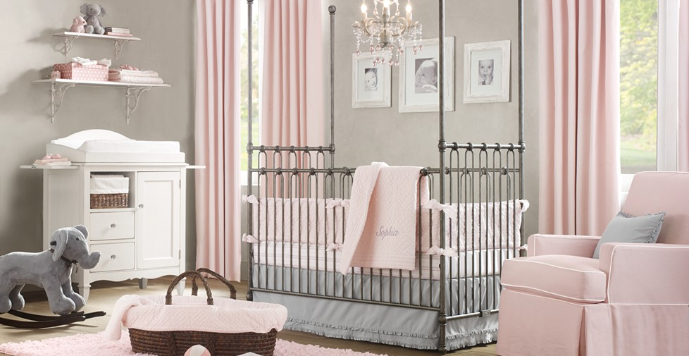 baby girl room ideas pink and grey - Prinsessen Behang